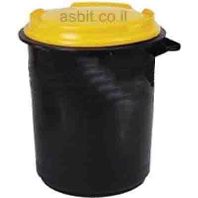 פח אשפה שחור 76 ליטר מכסה צהוב/ירוק